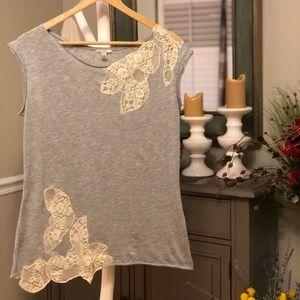 Lace cream and gray sleeveless tank top Sz M